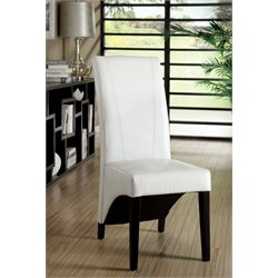Furniture of America Vanzant Leather Dining Chair in White (Set of 2)