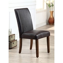 Furniture of America Kittle Leather Dining Chair in Oak (Set of 2)
