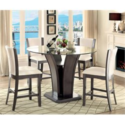Furniture of America Sampson Round Counter Height Dining Table in Gray