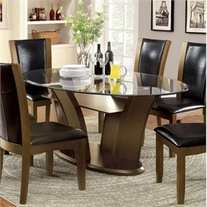 Furniture of America Waverly Oval Dining Table in Natural Wood