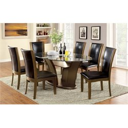 Furniture of America Waverly 7 Piece Glass Top Dining Set in Espresso