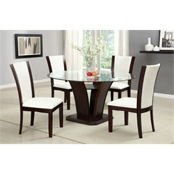 Furniture of America Hartstock 5 Piece Round Dining Set in White