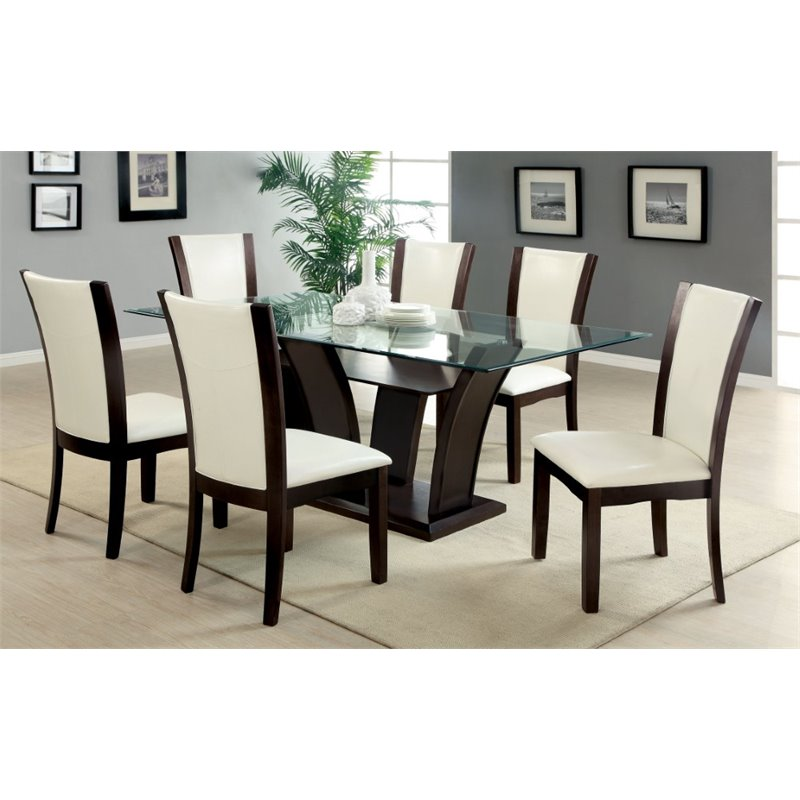 Furniture of America Waverly Contemporary 7-Piece Dining Set in White