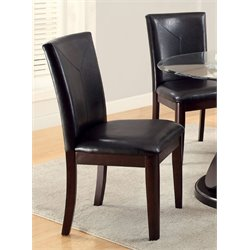 Furniture of America Lamyra Leather Dining Chair in Walnut (Set of 2)