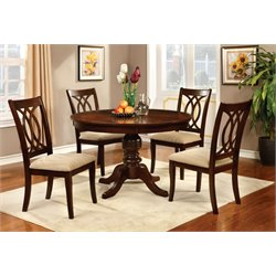 Furniture of America Amersty 5 Piece Dining Set in Brown Cherry