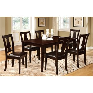 Furniture of America Gruvely 7 Piece Dining Set in Espresso