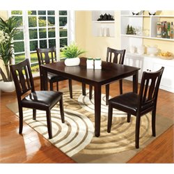 Furniture of America Castleman 5 Piece Dining Set in Espresso
