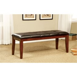 Furniture of America Claire Leather Dining Bench in Cherry