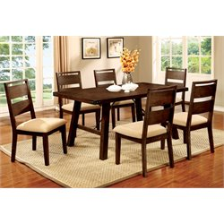 Furniture of America Samson 7 Piece Dining Set in Dark Oak