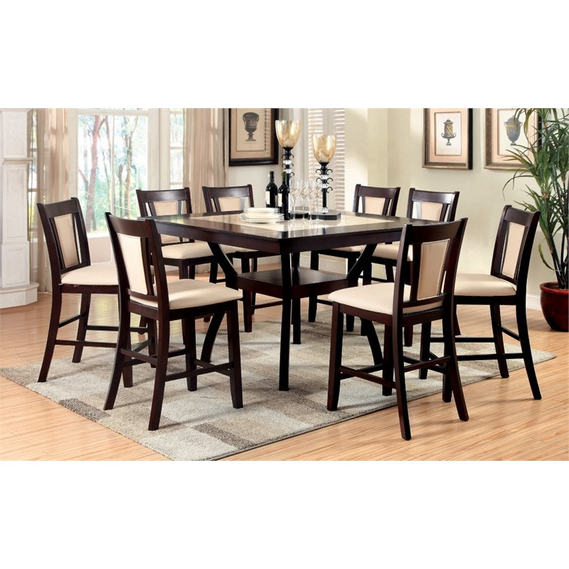 9 piece counter height dining room sets furniture of america melott 9 counter height dining 9159