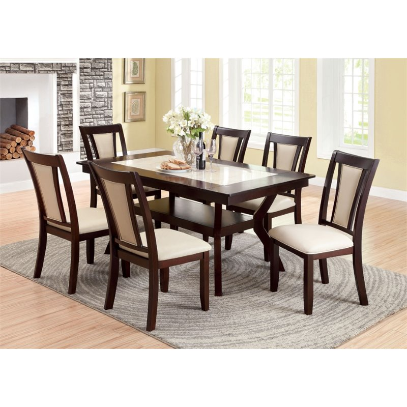 Furniture of america melott 7 piece dining set in dark for 7 piece dining set