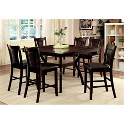 Furniture of America Melott 7 Piece Counter Height Dining Set