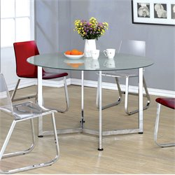 Furniture of America Zorn Round Dining Table in Chrome