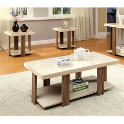 Furniture of America Haven 3 Piece Coffee Table Set in Light Oak