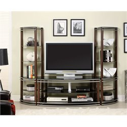 Furniture of America Walsh 3 Piece Entertainment Center in Brown