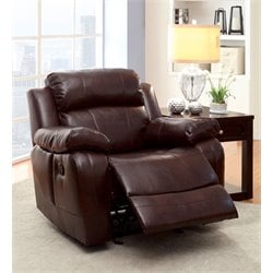 Furniture of America Calcett Leather Glider Recliner in Brown