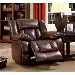 Furniture of America Eponine Leather Power Recliner in Dark Brown