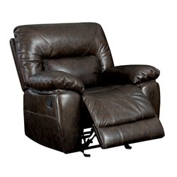 Furniture of America Viggo Leather Glider Recliner in Camel Brown