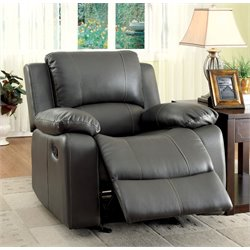 Furniture of America Walin Leather Glider Recliner in Gray