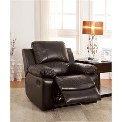 Furniture of America Gegorian Leather Recliner in Brown