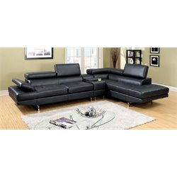 Furniture of America Briana Contemporary Leather Sectional in Black