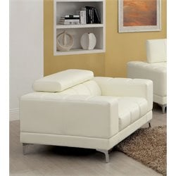 Furniture of America Kalzetta Leather Accent Chair in White