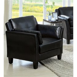 Furniture of America Tonia Faux Leather Accent Chair in Black