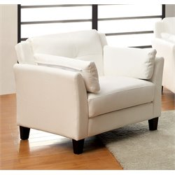 Furniture of America Tonia Faux Leather Accent Chair in White
