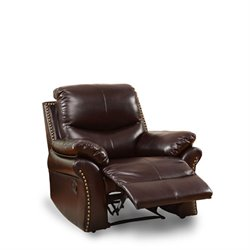 Furniture of America Wess Leather Recliner in Rustic Dark Brown