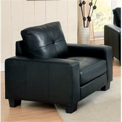 Furniture of America Guave Modern Leather Accent Chair in Black