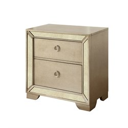 Furniture of America Celina 2 Drawer Nightstand in Silver