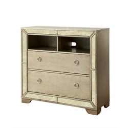 Furniture of America Celina 2 Drawer Media Chest in Silver