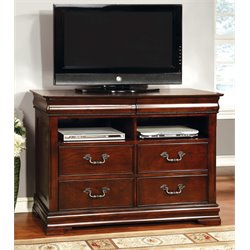 Furniture of America Ruben 4 Drawer Media Chest in Cherry