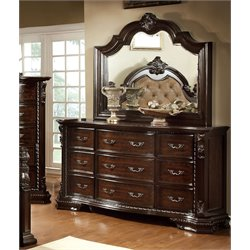 Furniture of America Cheston 9 Drawer Dresser and Mirror Set in Walnut