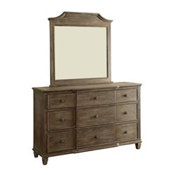 Furniture of America Anisa 9 Drawer Dresser and Mirror Set in Gray