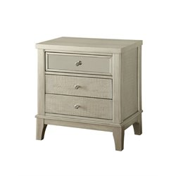 Furniture of America Bessie 3 Drawer Nightstand in Silver Gray