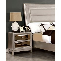 Furniture of America Bettyann 2 Drawer Nightstand in Silver