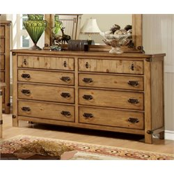 Furniture of America Sesco 8 Drawer Dresser in Burnished Pine
