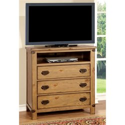 Furniture of America Sesco 3 Drawer Media Chest in Burnished Pine