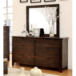 Furniture of America Haughton 6 Drawer Dresser and Mirror Set in Brown