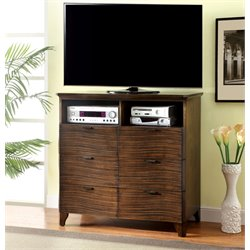 Furniture of America Haughton 6 Drawer Media Chest in Dark Brown