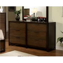 Furniture of America Gioia 6 Drawer Dresser in Dark Brown
