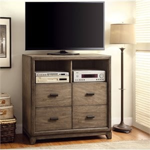Furniture of America Muttex 4 Drawer Media Chest in Natural Ash