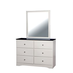 Furniture of America Emely 6 Drawer Dresser and Mirror Set in White