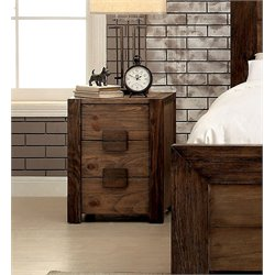 Furniture of America Drew 3 Drawer Nightstand in Rustic Natural