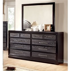 Furniture of America Haiden 8 Drawer Dresser and Mirror Set in Gray