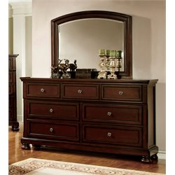 Furniture of America Caiden 7 Drawer Dresser and Mirror Set in Cherry