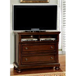 Furniture of America Caiden 2 Drawer Media Chest in Cherry