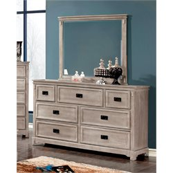 Furniture of America Shipman 7 Drawer Dresser and Mirror Set in Gray