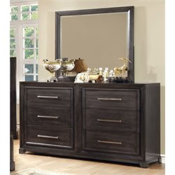 Furniture of America Prather 6 Drawer Dresser and Mirror Set in Gray